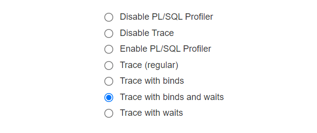 select trace with bind and waits option